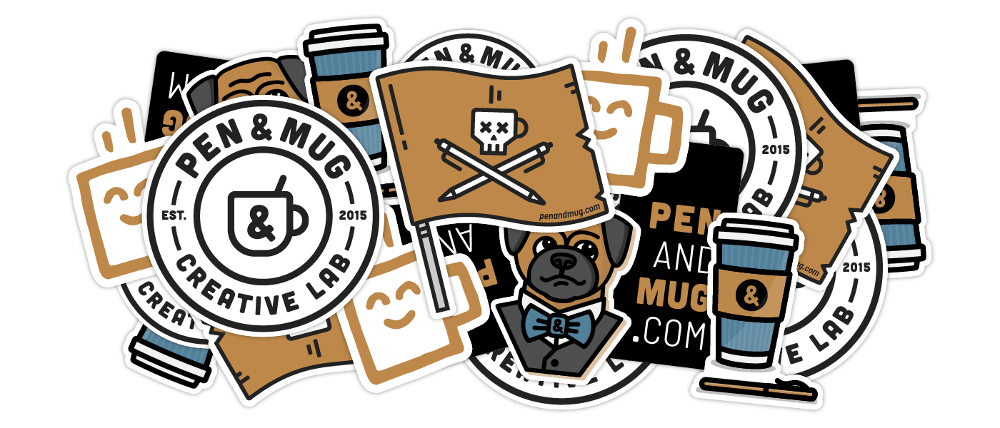 a pile of Pen & Mug stickers